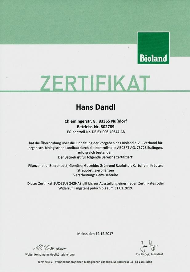 zertifikat bioland-betrieb